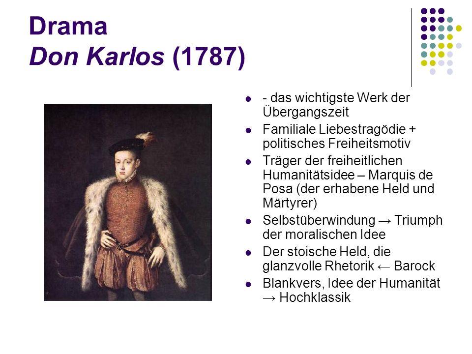 Drama Don Karlos (1787) - das wichtigste Werk der Übergangszeit Familiale Liebestragödie + politisches Freiheitsmotiv Träger der freiheitlichen Humani