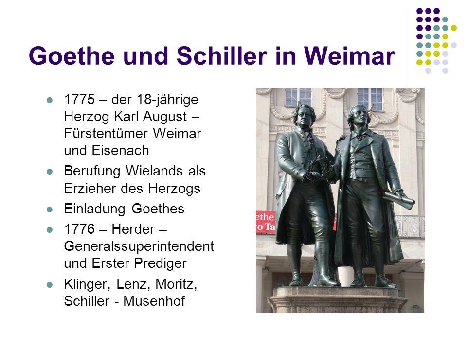 Goethe und Schiller in Weimar 1775 – der 18-jährige Herzog Karl August – Fürstentümer Weimar und Eisenach Berufung Wielands als Erzieher des Herzogs E