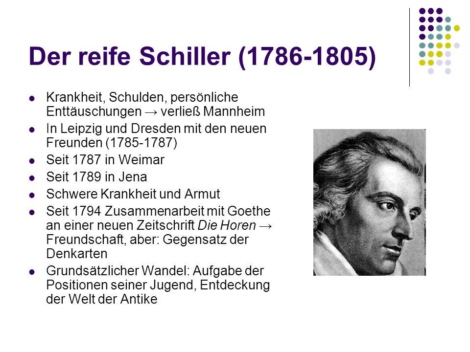 Der reife Schiller (1786-1805) Krankheit, Schulden, persönliche Enttäuschungen → verließ Mannheim In Leipzig und Dresden mit den neuen Freunden (1785-