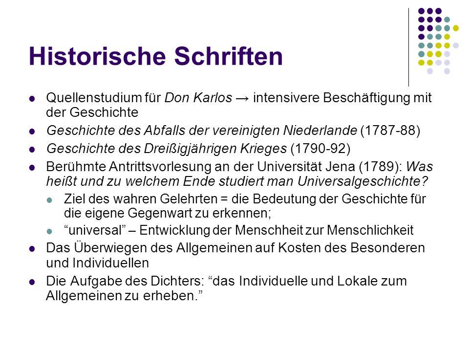 Historische Schriften Quellenstudium für Don Karlos → intensivere Beschäftigung mit der Geschichte Geschichte des Abfalls der vereinigten Niederlande