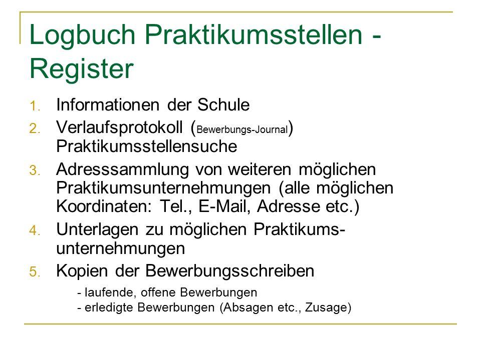 Logbuch Praktikumsstellen - Register 1. Informationen der Schule 2.