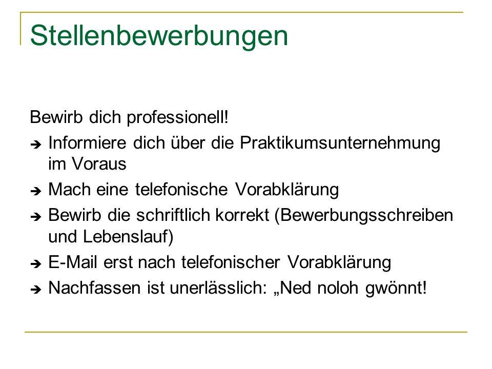 Logbuch Praktikumsstellen - Register 1.Informationen der Schule 2.