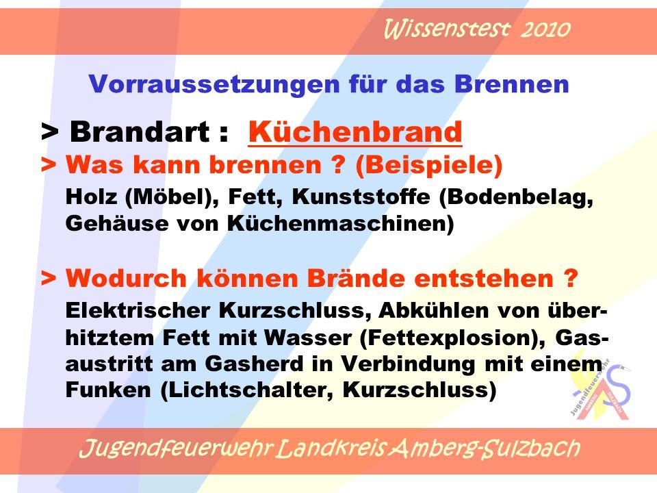 Jugendfeuerwehr Landkreis Amberg-Sulzbach Wissenstest 2010 Vorraussetzungen für das Brennen > Brandart : Küchenbrand > Was kann brennen .