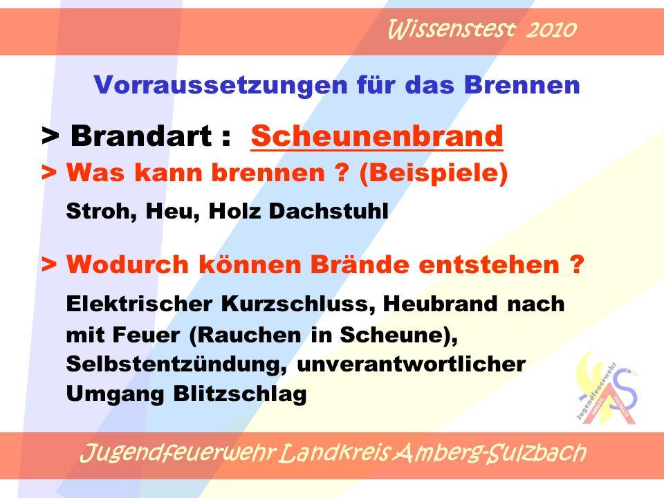 Jugendfeuerwehr Landkreis Amberg-Sulzbach Wissenstest 2010 Vorraussetzungen für das Brennen > Brandart : Scheunenbrand > Was kann brennen .