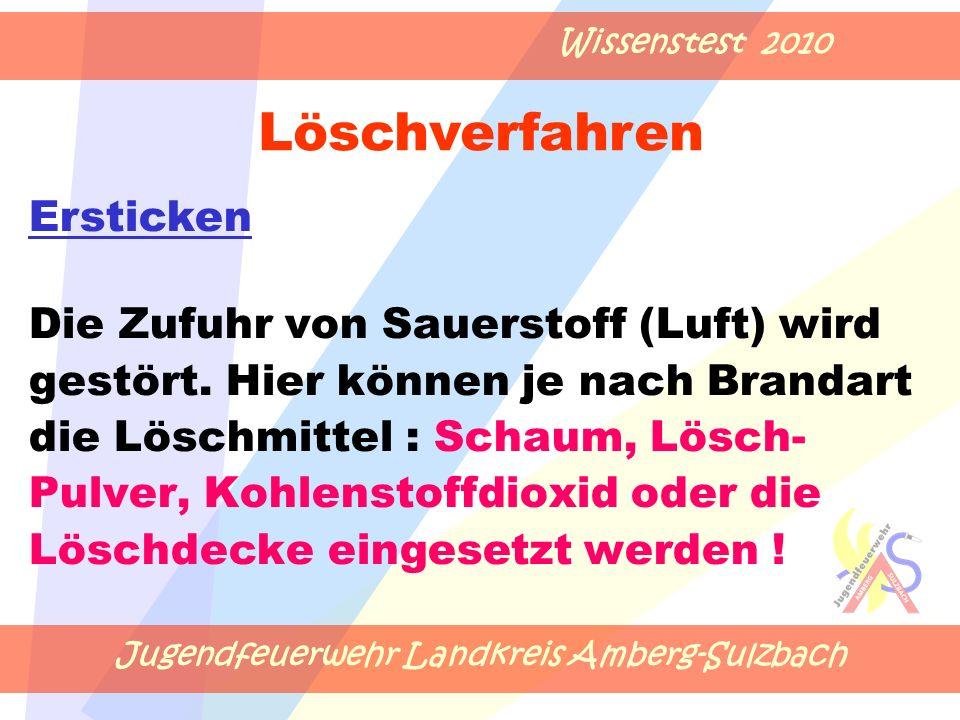 Jugendfeuerwehr Landkreis Amberg-Sulzbach Wissenstest 2010 Die Zufuhr von Sauerstoff (Luft) wird gestört.