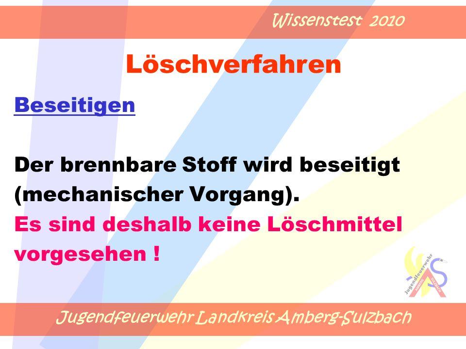 Jugendfeuerwehr Landkreis Amberg-Sulzbach Wissenstest 2010 Der brennbare Stoff wird beseitigt (mechanischer Vorgang).
