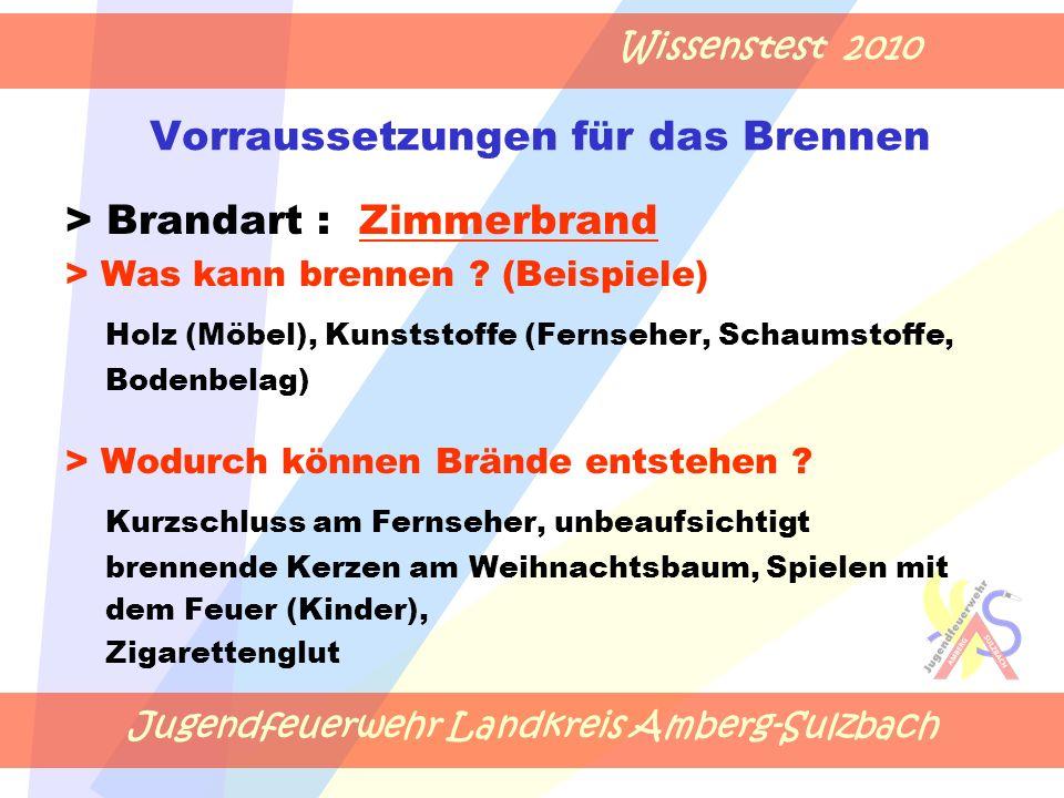 Jugendfeuerwehr Landkreis Amberg-Sulzbach Wissenstest 2010 Vorraussetzungen für das Brennen > Brandart : Zimmerbrand > Was kann brennen .