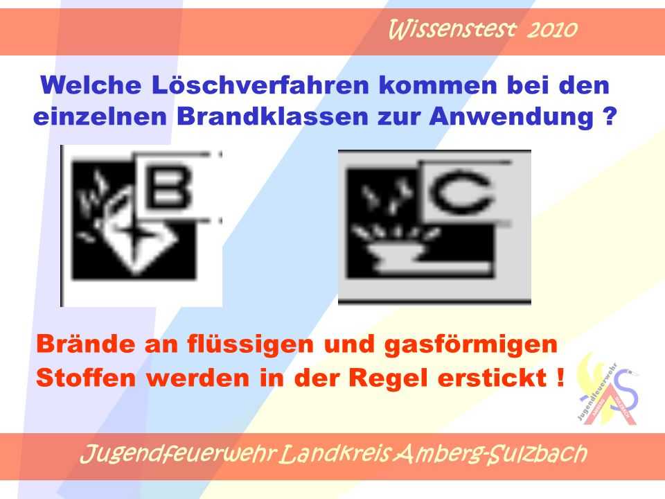 Jugendfeuerwehr Landkreis Amberg-Sulzbach Wissenstest 2010 Brände an flüssigen und gasförmigen Stoffen werden in der Regel erstickt .