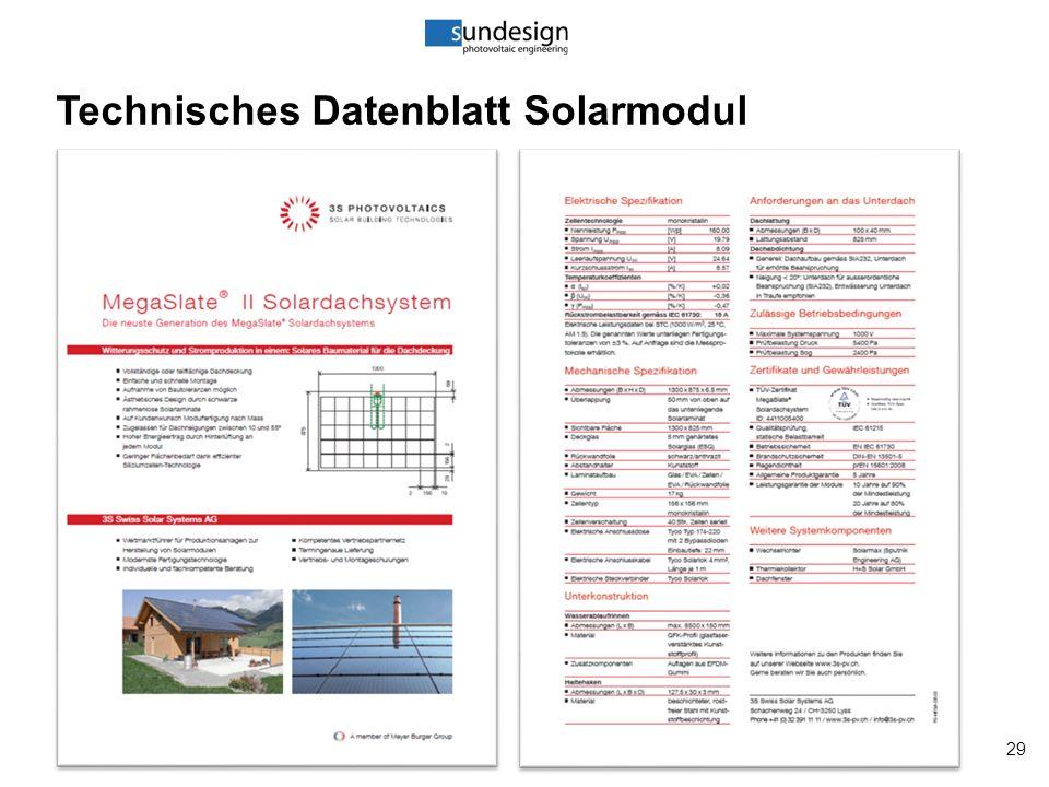29 Technisches Datenblatt Solarmodul