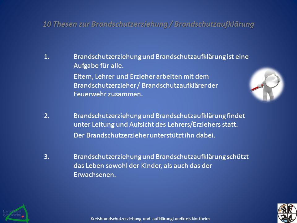 10 Thesen zur Brandschutzerziehung / Brandschutzaufklärung 1.