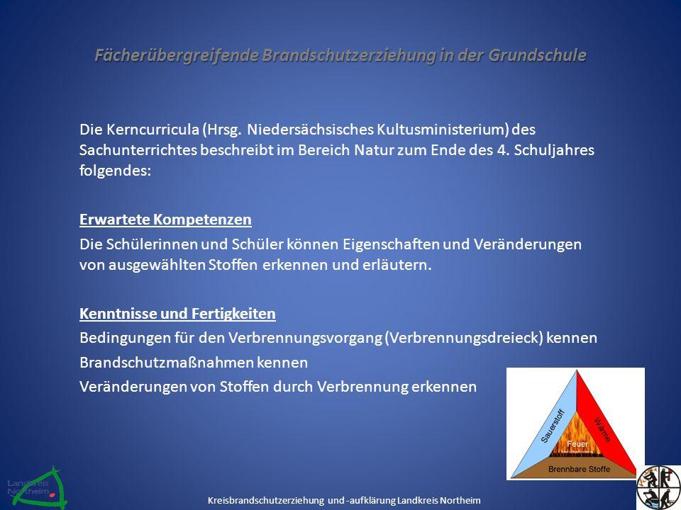Fächerübergreifende Brandschutzerziehung in der Grundschule Die Kerncurricula (Hrsg. Niedersächsisches Kultusministerium) des Sachunterrichtes beschre