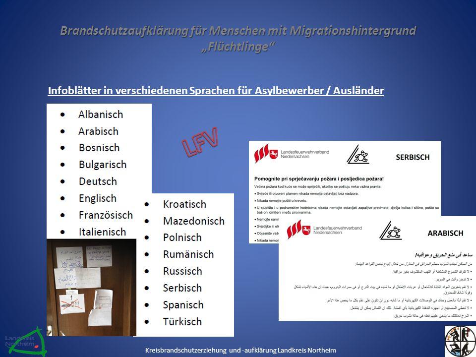 """Brandschutzaufklärung für Menschen mit Migrationshintergrund """"Flüchtlinge"""" Infoblätter in verschiedenen Sprachen für Asylbewerber / Ausländer Kreisbra"""