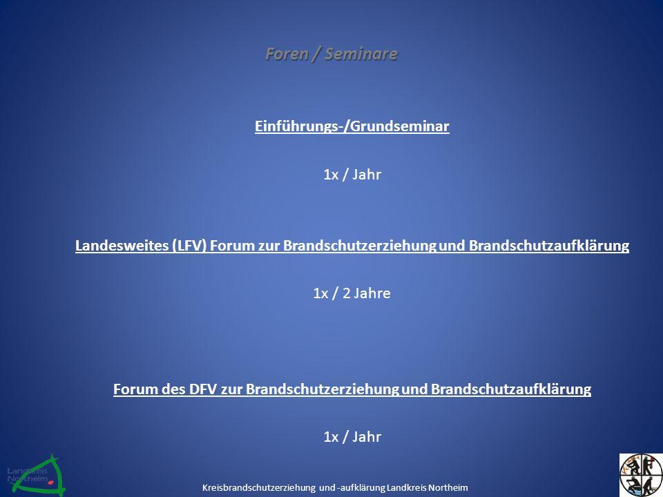 Foren / Seminare Einführungs-/Grundseminar 1x / Jahr Landesweites (LFV) Forum zur Brandschutzerziehung und Brandschutzaufklärung 1x / 2 Jahre Forum des DFV zur Brandschutzerziehung und Brandschutzaufklärung 1x / Jahr Kreisbrandschutzerziehung und -aufklärung Landkreis Northeim