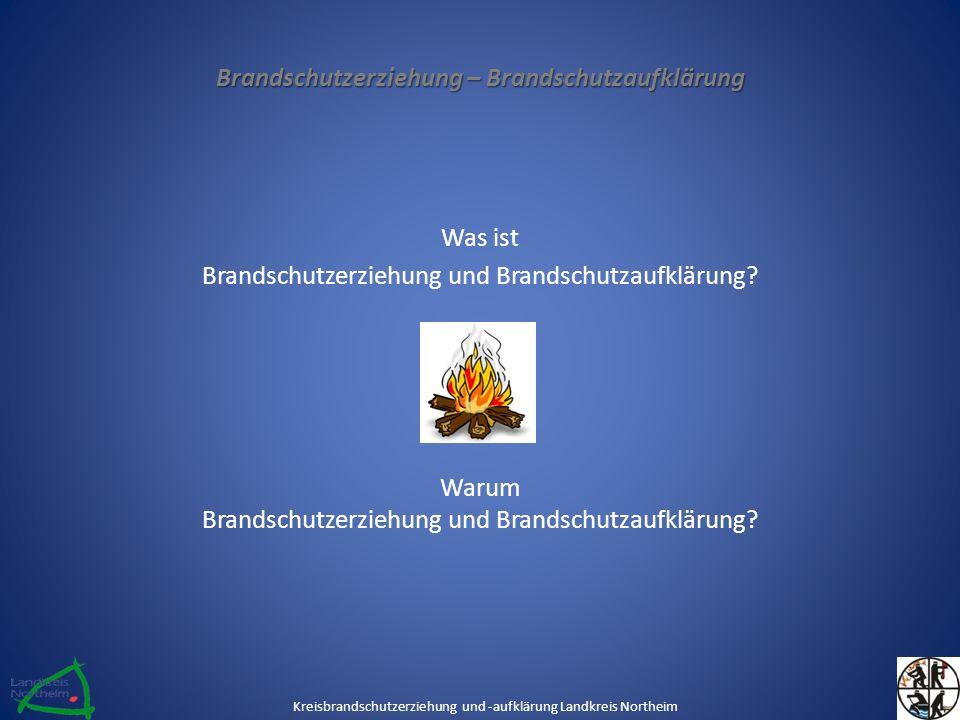 Inhalte der Brandschutzerziehung / Brandschutzaufklärung Information und Aufklärung über den Sinn der Brandschutzerziehung & -aufklärung Positive und negative Eigenschaften des Feuers Erkennen und Beurteilen von Brandgefahren Beurteilung der Wirkung von Brandrauch Kreisbrandschutzerziehung und -aufklärung Landkreis Northeim