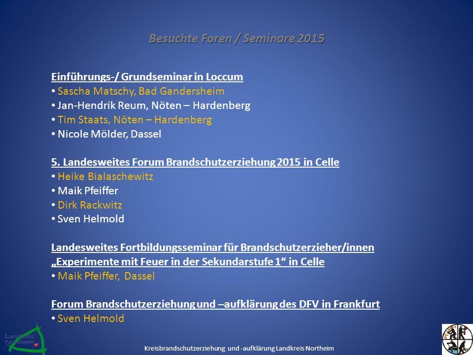Besuchte Foren / Seminare 2015 Einführungs-/ Grundseminar in Loccum Sascha Matschy, Bad Gandersheim Jan-Hendrik Reum, Nöten – Hardenberg Tim Staats, N