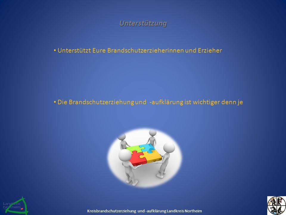 Unterstützung Unterstützt Eure Brandschutzerzieherinnen und Erzieher Die Brandschutzerziehung und -aufklärung ist wichtiger denn je Kreisbrandschutzerziehung und -aufklärung Landkreis Northeim