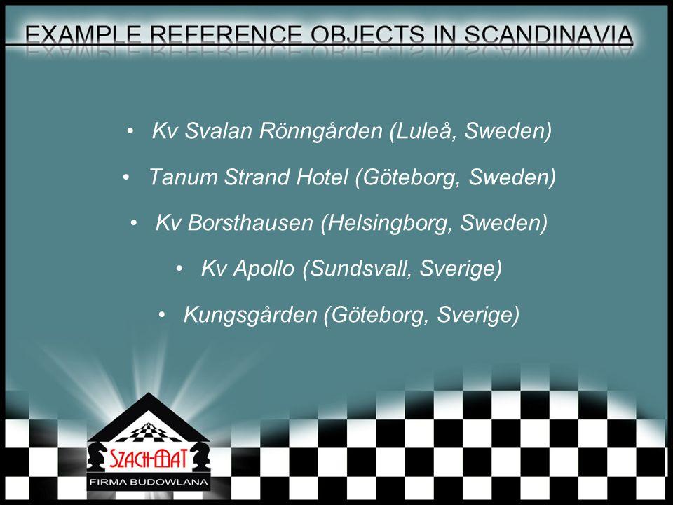 Kv Svalan Rönngården (Luleå, Sweden) Tanum Strand Hotel (Göteborg, Sweden) Kv Borsthausen (Helsingborg, Sweden) Kv Apollo (Sundsvall, Sverige) Kungsgården (Göteborg, Sverige)
