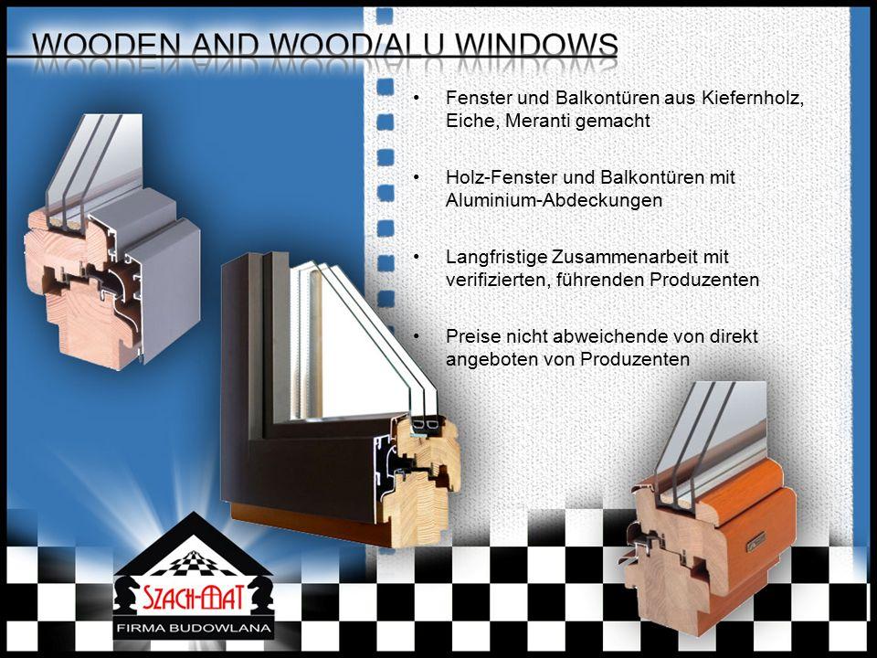Fenster und Balkontüren aus Kiefernholz, Eiche, Meranti gemacht Holz-Fenster und Balkontüren mit Aluminium-Abdeckungen Langfristige Zusammenarbeit mit verifizierten, führenden Produzenten Preise nicht abweichende von direkt angeboten von Produzenten
