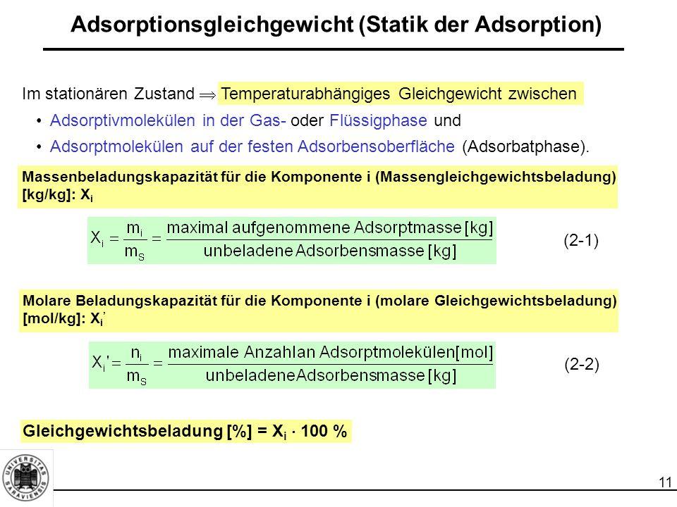 11 Adsorptionsgleichgewicht (Statik der Adsorption) Im stationären Zustand  Temperaturabhängiges Gleichgewicht zwischen Adsorptivmolekülen in der Gas- oder Flüssigphase und Adsorptmolekülen auf der festen Adsorbensoberfläche (Adsorbatphase).