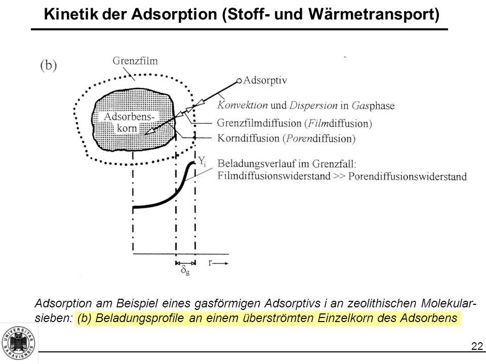 22 Kinetik der Adsorption (Stoff- und Wärmetransport) Adsorption am Beispiel eines gasförmigen Adsorptivs i an zeolithischen Molekular- sieben: (b) Beladungsprofile an einem überströmten Einzelkorn des Adsorbens