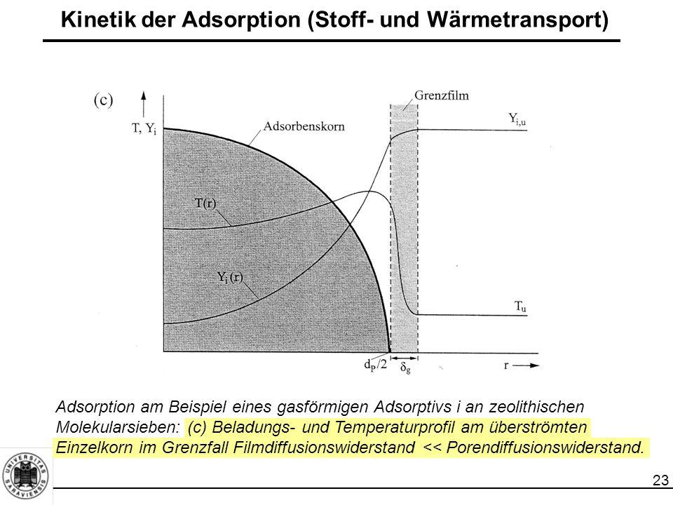 23 Kinetik der Adsorption (Stoff- und Wärmetransport) Adsorption am Beispiel eines gasförmigen Adsorptivs i an zeolithischen Molekularsieben: (c) Beladungs- und Temperaturprofil am überströmten Einzelkorn im Grenzfall Filmdiffusionswiderstand << Porendiffusionswiderstand.