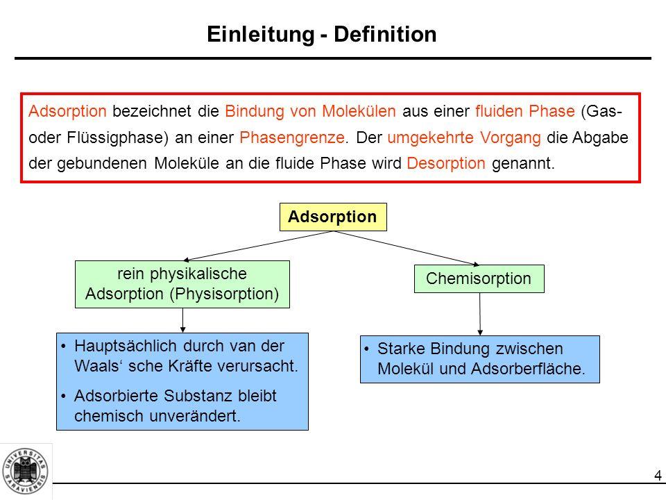 4 Einleitung - Definition Adsorption bezeichnet die Bindung von Molekülen aus einer fluiden Phase (Gas- oder Flüssigphase) an einer Phasengrenze.