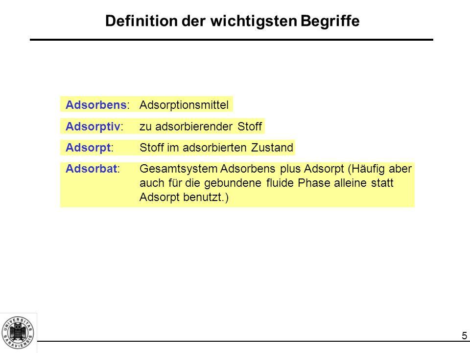 5 Adsorbens:Adsorptionsmittel Adsorptiv: zu adsorbierender Stoff Adsorpt: Stoff im adsorbierten Zustand Adsorbat: Gesamtsystem Adsorbens plus Adsorpt (Häufig aber auch für die gebundene fluide Phase alleine statt Adsorpt benutzt.) Definition der wichtigsten Begriffe