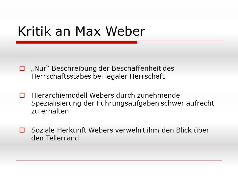 """Kritik an Max Weber  """"Nur Beschreibung der Beschaffenheit des Herrschaftsstabes bei legaler Herrschaft  Hierarchiemodell Webers durch zunehmende Spezialisierung der Führungsaufgaben schwer aufrecht zu erhalten  Soziale Herkunft Webers verwehrt ihm den Blick über den Tellerrand"""