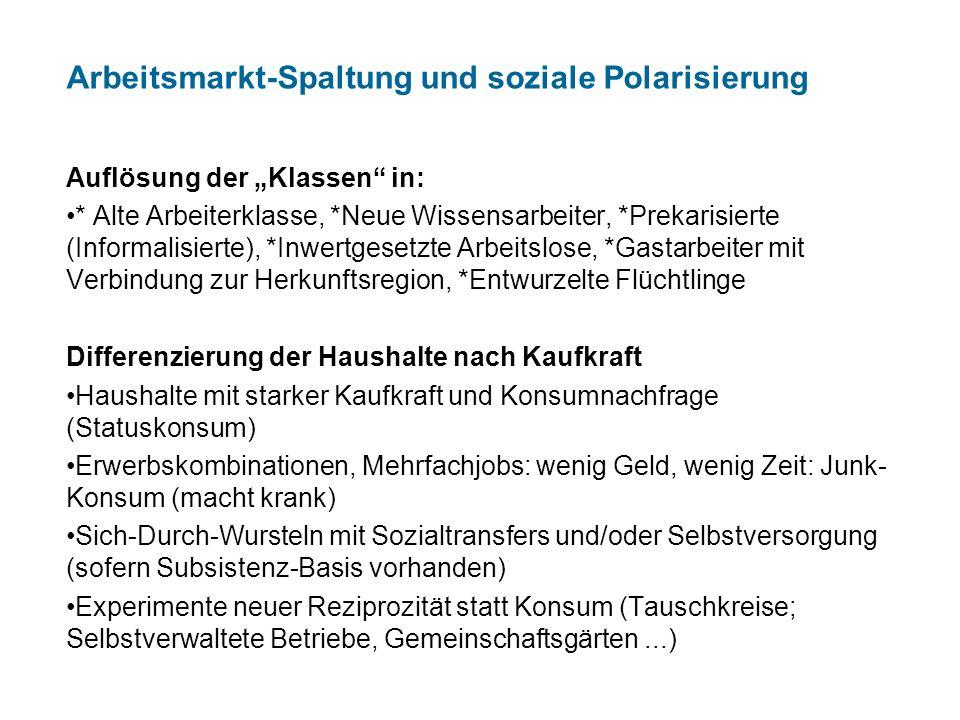 """Arbeitsmarkt-Spaltung und soziale Polarisierung Auflösung der """"Klassen"""" in: * Alte Arbeiterklasse, *Neue Wissensarbeiter, *Prekarisierte (Informalisie"""
