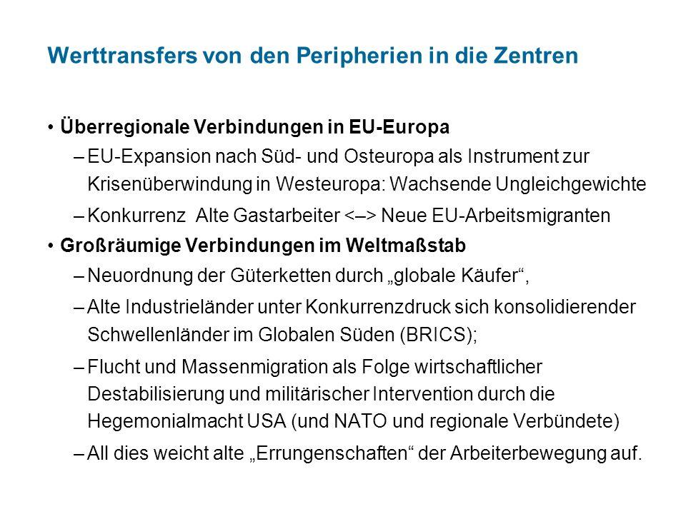 Werttransfers von den Peripherien in die Zentren Überregionale Verbindungen in EU-Europa –EU-Expansion nach Süd- und Osteuropa als Instrument zur Kris