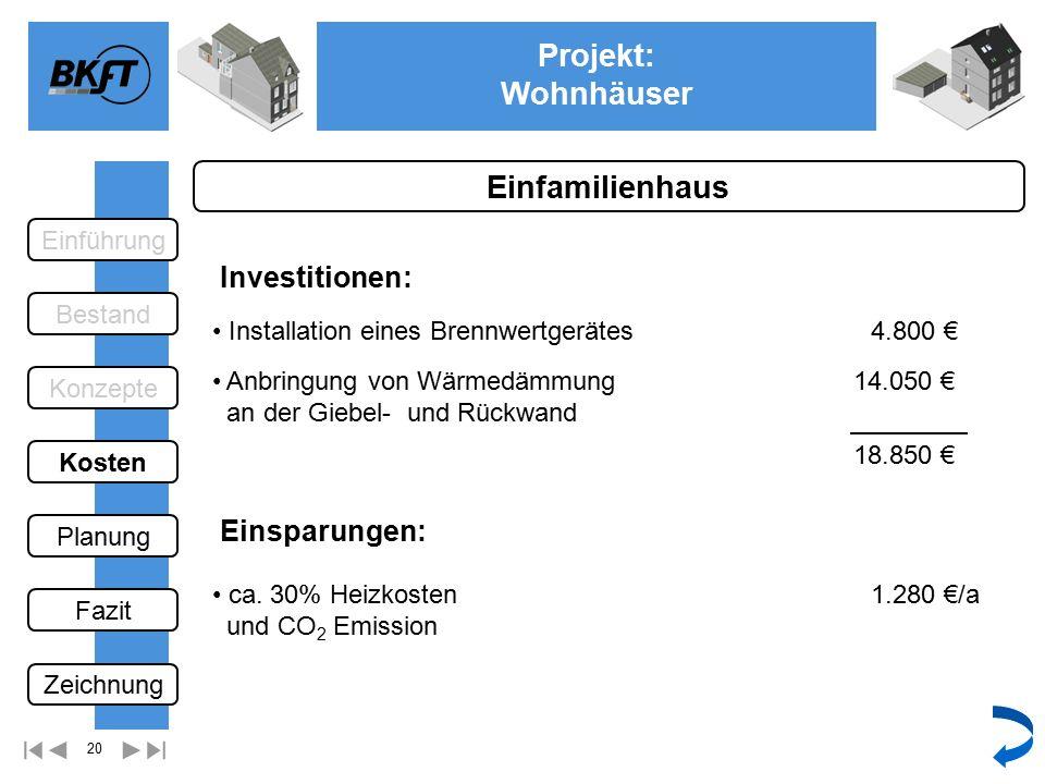 20 Projekt: Wohnhäuser Ge Einfamilienhaus Einsparungen: Installation eines Brennwertgerätes Investitionen: Anbringung von Wärmedämmung an der Giebel- und Rückwand 4.800 € 14.050 € 1.280 €/a 18.850 € ca.