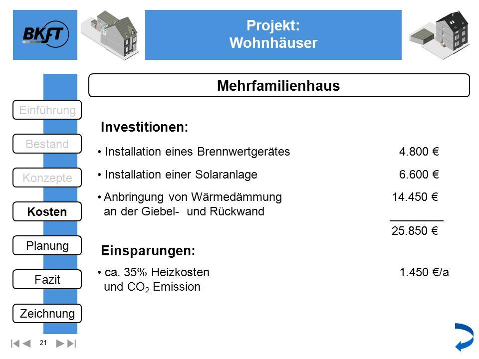 21 Projekt: Wohnhäuser Ge Mehrfamilienhaus Einsparungen: Installation eines Brennwertgerätes ca.