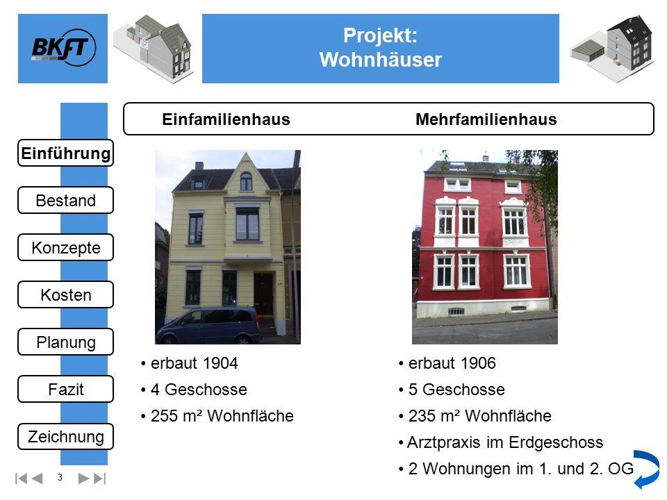 34 Projekt: Wohnhäuser Ge Dachgeschoss Mehrfamilienhaus Einführung Bestand Fazit Kosten Konzepte Planung Zeichnung wählen Nächste Zeichnung
