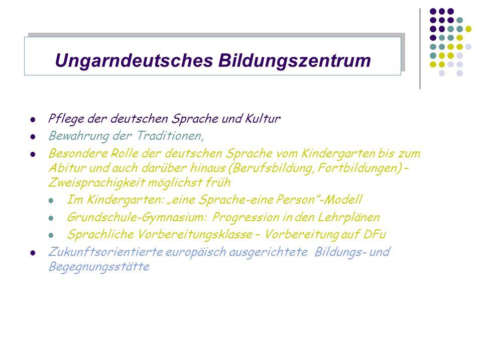 Pflege der deutschen Sprache und Kultur Bewahrung der Traditionen, Besondere Rolle der deutschen Sprache vom Kindergarten bis zum Abitur und auch darü