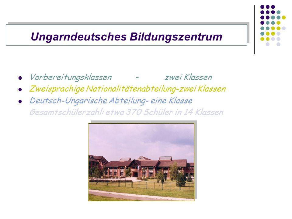 Vorbereitungsklassen-zwei Klassen Zweisprachige Nationalitätenabteilung-zwei Klassen Deutsch-Ungarische Abteilung- eine Klasse Gesamtschülerzahl: etwa 370 Schüler in 14 Klassen Ungarndeutsches Bildungszentrum