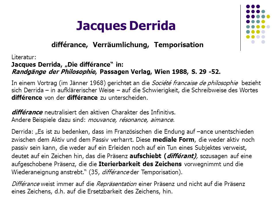 "Jacques Derrida différance, Verräumlichung, Temporisation Literatur: Jacques Derrida, ""Die différance in: Randgänge der Philosophie, Passagen Verlag, Wien 1988, S."