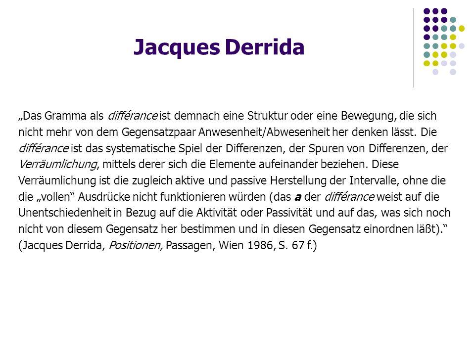 """Jacques Derrida """"Das Gramma als différance ist demnach eine Struktur oder eine Bewegung, die sich nicht mehr von dem Gegensatzpaar Anwesenheit/Abwesenheit her denken lässt."""