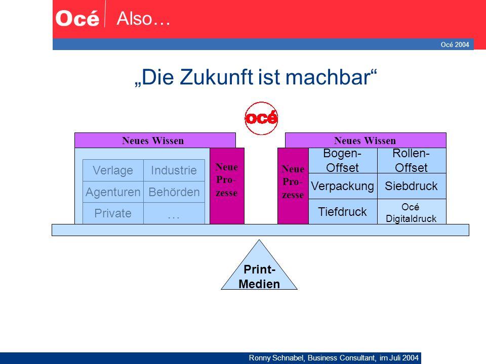 """Océ 2004 Ronny Schnabel, Business Consultant, im Juli 2004 11 Also… """"Die Zukunft ist machbar"""" Private Agenturen Verlage Behörden … Industrie Print- Me"""