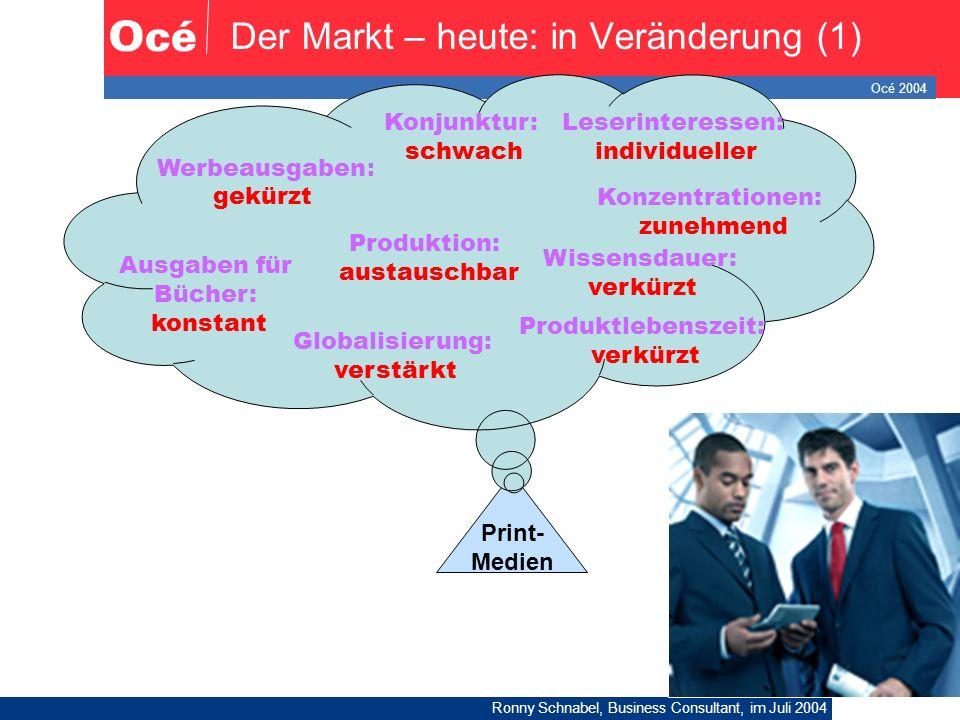 Océ 2004 Ronny Schnabel, Business Consultant, im Juli 2004 5 Der Markt – heute: in Veränderung (1) Print- Medien Konjunktur: schwach Werbeausgaben : g
