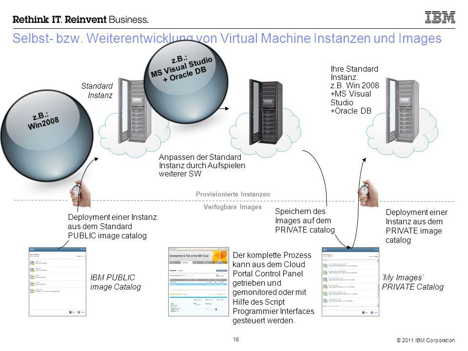 © 2011 IBM Corporation 16 Selbst- bzw. Weiterentwicklung von Virtual Machine Instanzen und Images Deployment einer Instanz aus dem Standard PUBLIC ima