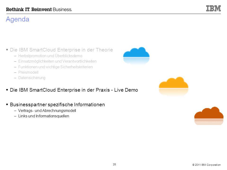 © 2011 IBM Corporation 25 Agenda  Die IBM SmartCloud Enterprise in der Theorie –Herbstpromotion und Überblicksdemo –Einsatzmöglichkeiten und Verantwo