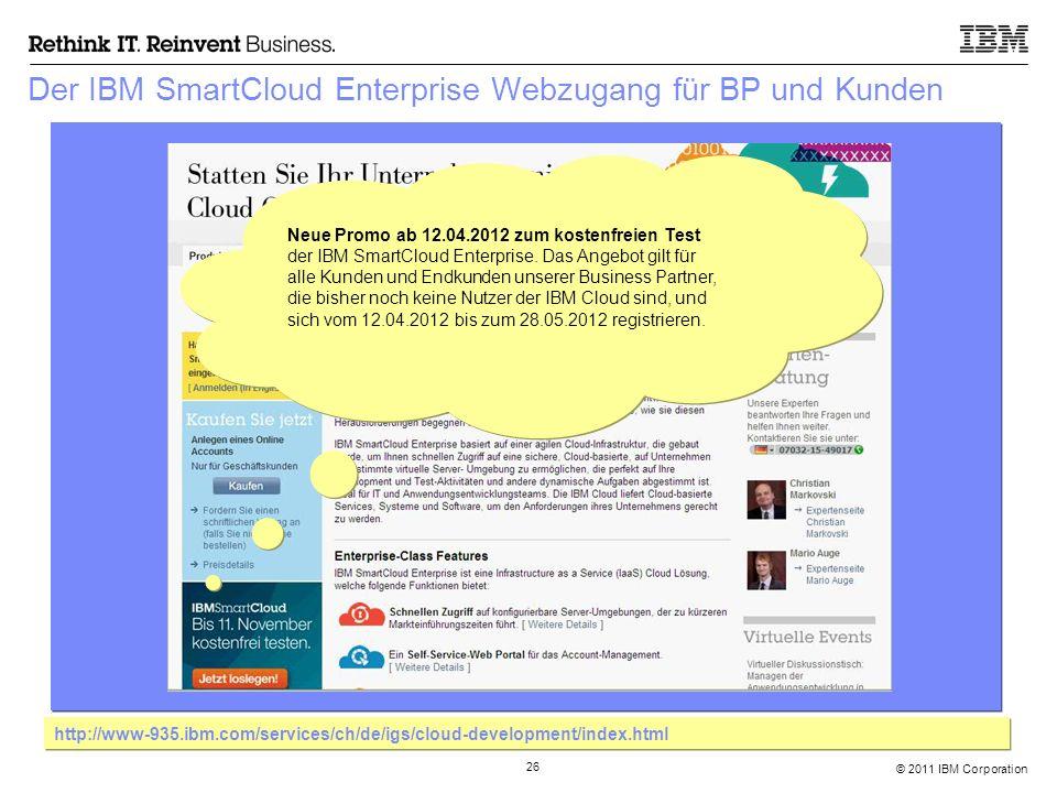 © 2011 IBM Corporation 26 Der IBM SmartCloud Enterprise Webzugang für BP und Kunden http://www-935.ibm.com/services/ch/de/igs/cloud-development/index.