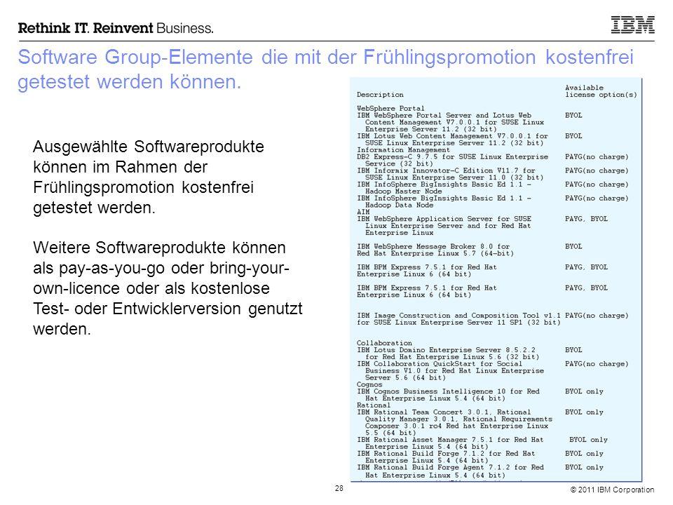 © 2011 IBM Corporation 28 Software Group-Elemente die mit der Frühlingspromotion kostenfrei getestet werden können. Ausgewählte Softwareprodukte könne