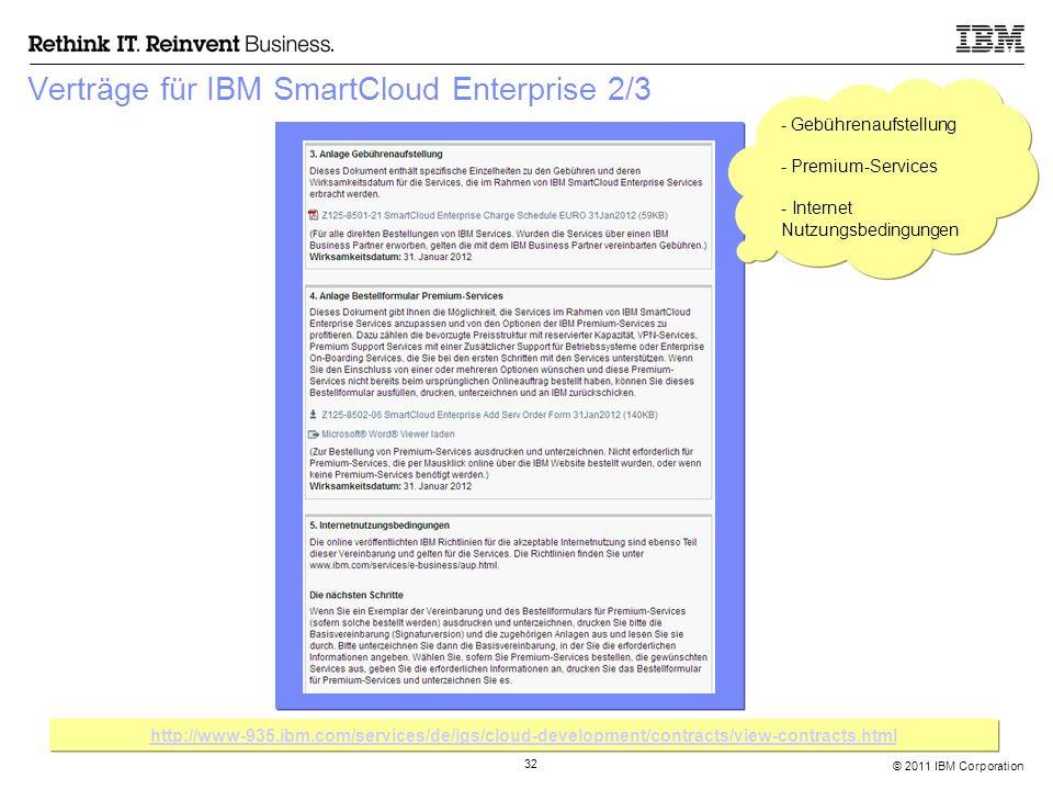 © 2011 IBM Corporation 32 Verträge für IBM SmartCloud Enterprise 2/3 - Gebührenaufstellung - Premium-Services - Internet Nutzungsbedingungen - Gebühre