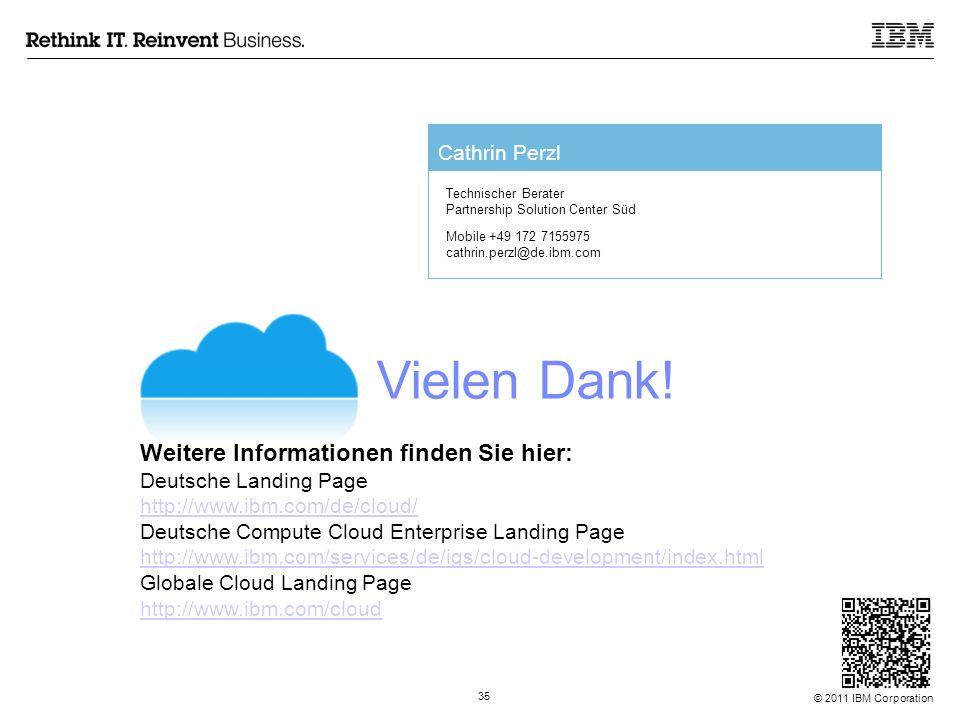 © 2011 IBM Corporation 35 Vielen Dank! Weitere Informationen finden Sie hier: Deutsche Landing Page http://www.ibm.com/de/cloud/ Deutsche Compute Clou