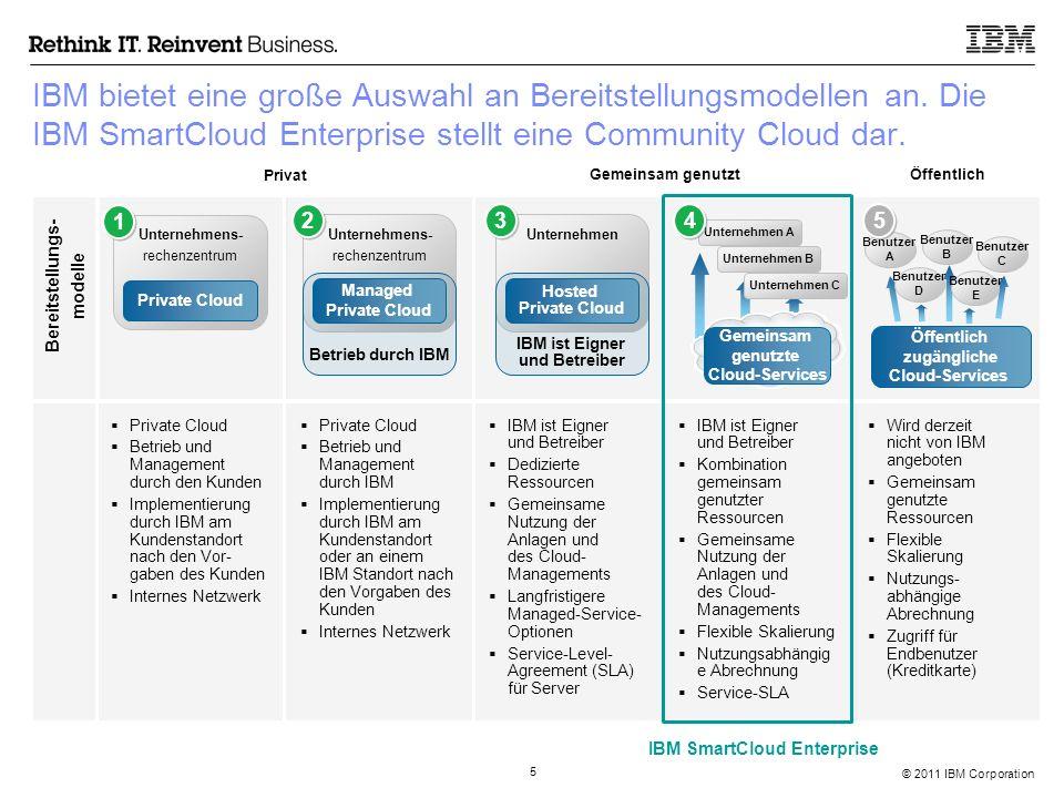 © 2011 IBM Corporation 5 IBM bietet eine große Auswahl an Bereitstellungsmodellen an. Die IBM SmartCloud Enterprise stellt eine Community Cloud dar. 