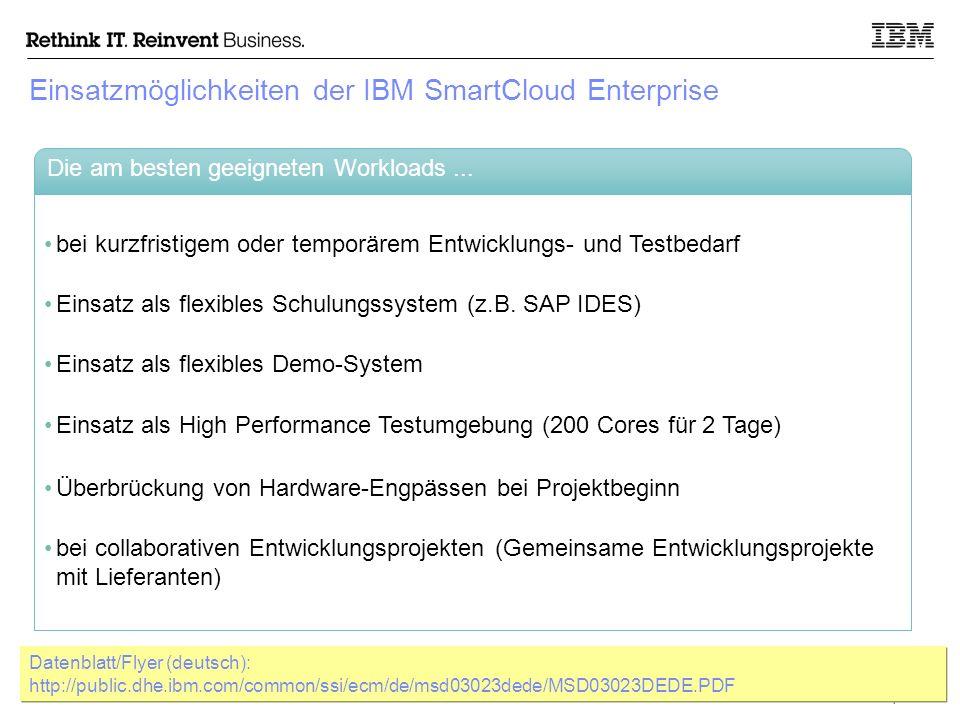© 2011 IBM Corporation 7 IBM SmartCloud Enterprise bietet Unternehmen Zugang zu einer flexiblen Cloud-Umgebung, die gut für Entwicklung, Test und Betrieb von Web-Applikationen geeignet ist.
