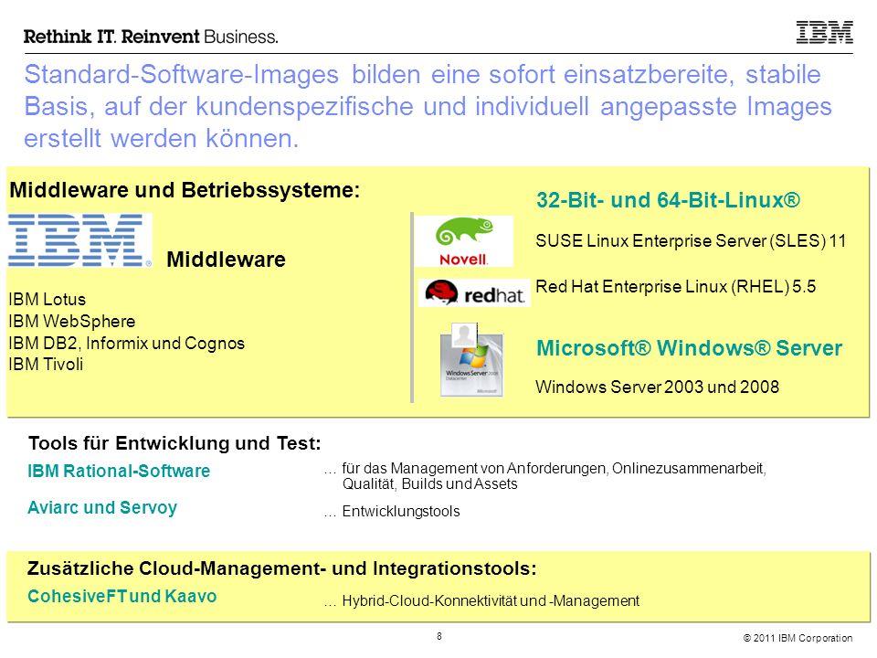 © 2011 IBM Corporation 29 Das IBM SmartCloud Enterprise Vertrags- und Abrechnungsmodell  Die aktuellsten SmartCloud Enterprise Verträge für Deutschland (auf deutsch) unter http://www-935.ibm.com/services/de/igs/cloud-development/contracts/view-contracts.html IBM Distributor Tier 1 BP Customer Tier 2 BP