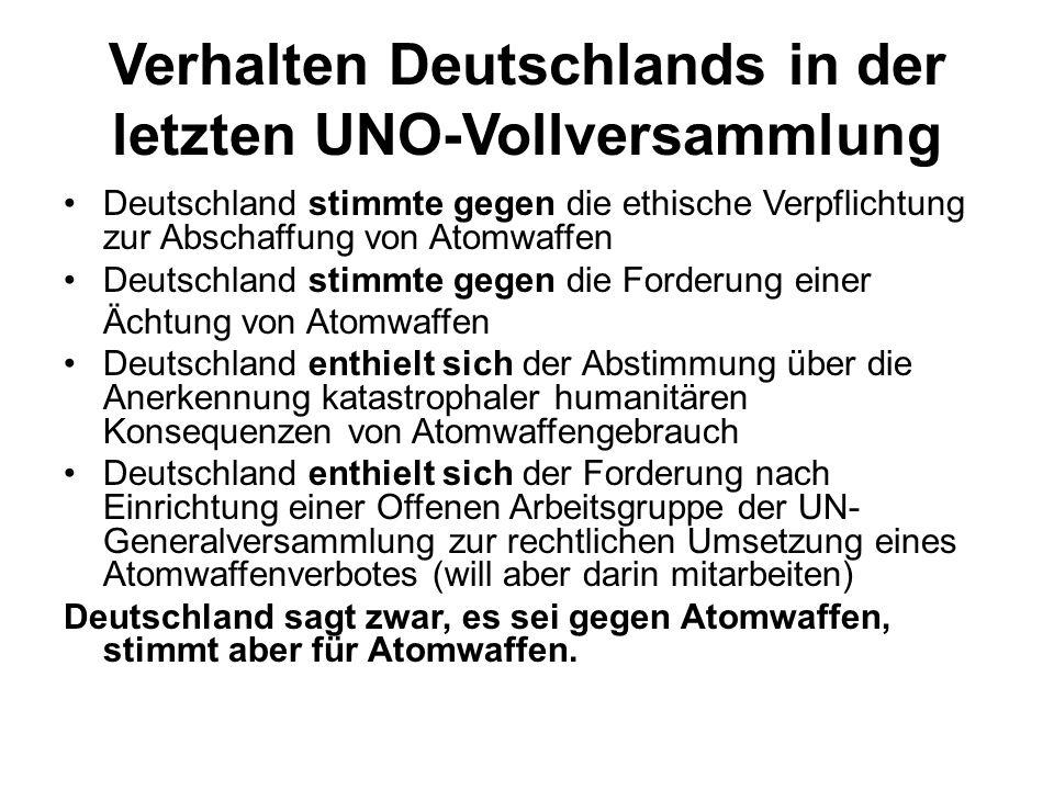 Verhalten Deutschlands in der letzten UNO-Vollversammlung Deutschland stimmte gegen die ethische Verpflichtung zur Abschaffung von Atomwaffen Deutschland stimmte gegen die Forderung einer Ächtung von Atomwaffen Deutschland enthielt sich der Abstimmung über die Anerkennung katastrophaler humanitären Konsequenzen von Atomwaffengebrauch Deutschland enthielt sich der Forderung nach Einrichtung einer Offenen Arbeitsgruppe der UN- Generalversammlung zur rechtlichen Umsetzung eines Atomwaffenverbotes (will aber darin mitarbeiten) Deutschland sagt zwar, es sei gegen Atomwaffen, stimmt aber für Atomwaffen.