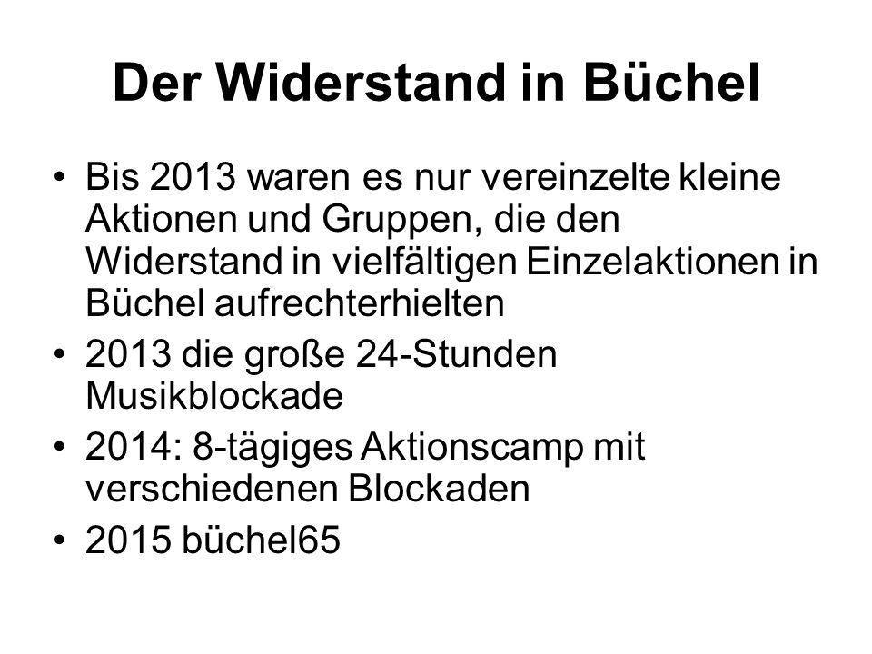 Der Widerstand in Büchel Bis 2013 waren es nur vereinzelte kleine Aktionen und Gruppen, die den Widerstand in vielfältigen Einzelaktionen in Büchel aufrechterhielten 2013 die große 24-Stunden Musikblockade 2014: 8-tägiges Aktionscamp mit verschiedenen Blockaden 2015 büchel65